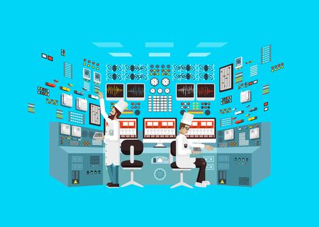 Vector flat illustration interior science base, interior nuclear power plant, technical equipment, scientists, workers NPP, research, development, experiments, data processing, technological progress Illustration