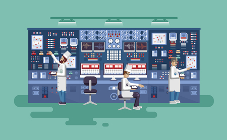 technological evolution: Vector flat illustration interior science base, interior nuclear power plant, technical equipment, scientists, workers NPP, research, development, experiments, technological progress Illustration