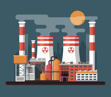 landscape architecture: Vector Stock illustration of facade architecture nuclear power plant in flat style, power generation, cooling tower power plant, reactor unit, ventilation pipe, Industrial landscape on dark background Illustration