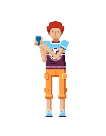 freckles: Stock vector illustration isolated of European redhead man with freckles in short orange pants, man touch screen smartphone by hand, man shows screen of phone, T-shirt in flat style, white background