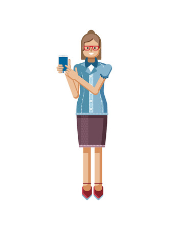 buttoned: Stock vector illustration isolated European Brown hair woman with glasses, hipster blouse buttoned, woman touch screen smartphone by hand, woman shows screen of phone in flat style on white background