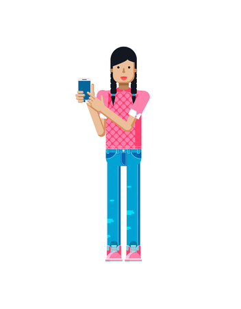 pigtails: Stock vector illustration isolated of European girl in pink blouse, blue jeans, dark long hair, pigtails, woman touch screen smartphone by hand in flat style on white background