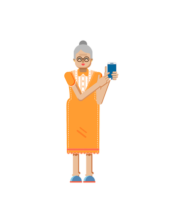 retiree: Stock vector illustration isolated of European retiree, elderly woman, white hair, glasses, touch screen smartphone by hand, woman demonstrates screen of phone, flat style on white background