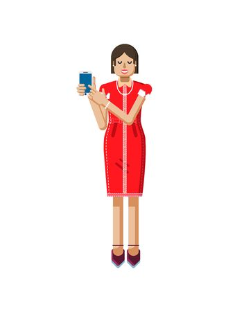 heels shoes: Stock vector illustration isolated of European woman with dark hair in red dress, high heels shoes, woman touch screen smartphone by hand, woman shows screen of phone in flat style on white background Illustration