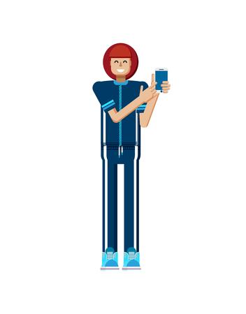 Ilustración vectorial material aislado de pelo rojo mujer europea en chándal, pantalla, atleta, mujer de pantalla táctil teléfono inteligente con la mano toca, la mujer muestra la pantalla del teléfono, estilo plano sobre fondo blanco Ilustración de vector