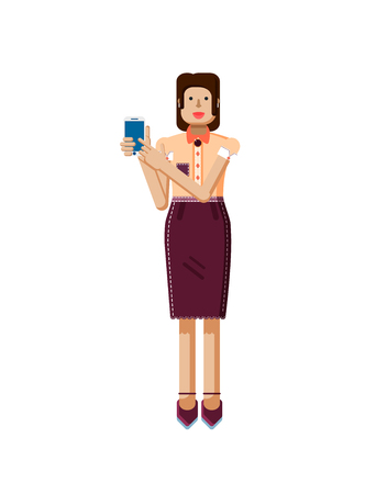 dark hair: Stock vector illustration isolated of European woman with dark hair, earrings, blouse, touch screen, woman touch screen smartphone by hand, woman shows screen of phone, flat style on white background Illustration