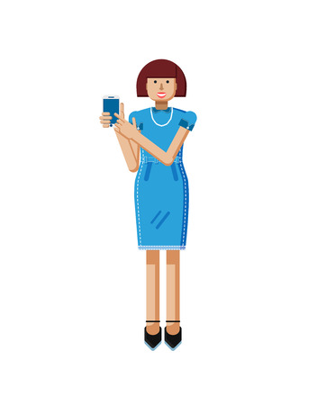 touch screen: Stock vector illustration isolated of European middle-aged woman, brown hair, blue dress, touche screen, woman touch screen smartphone by hand, woman shows screen of phone flat style, white background