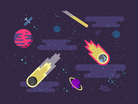 nebulae: Stock vector illustration space background with comets, meteorites, stars, planets, nebulae in a flat style