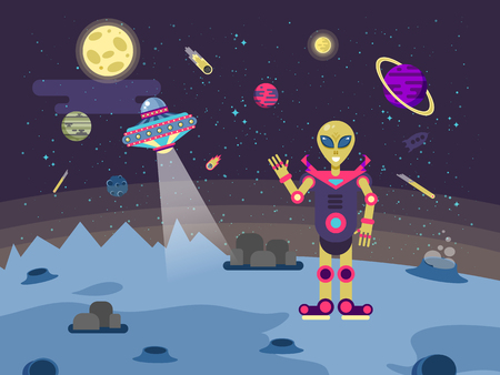 platillo volador: Stock vector illustrations alien on the moon surface on a background of outer space, flying saucer and the planets of the solar system in a flat style