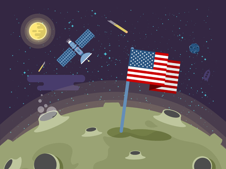 moon surface: Stock vector illustration of the United States of America flag stuck into the moon surface in a flat style