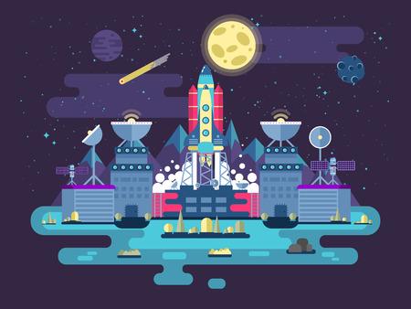 Stock Vektorgrafik Abbildung der Fassade des Bahnhofsgebäudes und Neben facilitieswith steigenden Rakete in den Weltraum für die Expedition und Forschung auf dem Hintergrund der offenen Weltraum in flachen Stil.