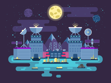 moon rover: Stock vector illustration of the facade of the station building and ancillary facilities for launching rockets into space for the expedition and research the background of open space in the flat style.