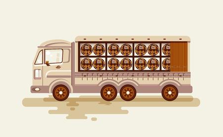 bebidas alcoh�licas: Ilustraci�n vectorial material de transporte de bebidas alcoh�licas por cami�n, barriles de vino del env�o en vag�n de estilo plano Vectores