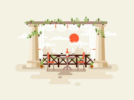 mountain view: Stock vector illustration of table between the columns with a bottle of wine and glasses, a mountain view, place to rest and drinking wine in flat style