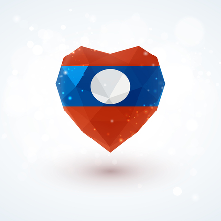 Flag of Laos in shape of diamond glass heart in triangulation style for info graphics, greeting card, celebration of Independence Day, printed materials