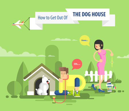 dissatisfied: Stock vector illustration of sad man sits beside a dog at the doghouse on leash and dissatisfied woman throwing presents in garbage, plane flies with advertising sign over married couple in flat style