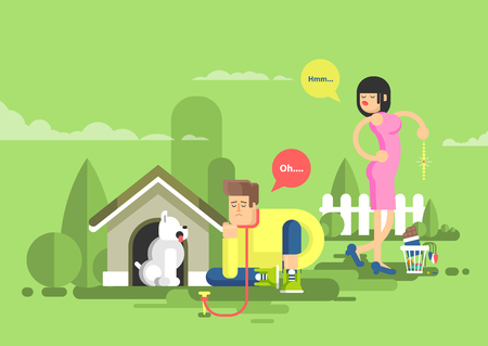 Stock vector illustration of sad man sits beside a dog at the doghouse on a leash and dissatisfied woman throwing presents in garbage in flat style. Illustration