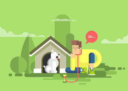 doghouse: Stock vector illustration of sad man sits beside a dog at the doghouse on a leash in flat style Illustration