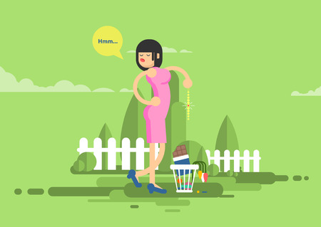 dissatisfied: Stock vector illustration of sad dissatisfied woman throwes presents, jewelry, chocolate, flowers in garbage in flat style Illustration