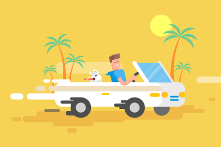 Stock vector illustration happy guy drives a white convertible, man and his dog rushes by car among a palm trees on a yellow background in a flat style Vectores
