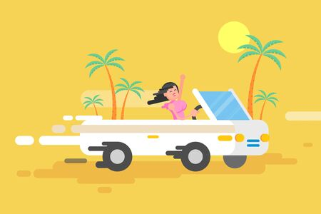 Stock vector illustration happy brunette girl drives a white convertible, woman rushes by car among a palm trees on a yellow background in a flat style