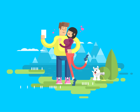 snowcapped: Stock vector illustration of happy married couple on vacation, man and woman embrace and make selfie on background of lake and snow-capped mountains, dog tags territory and pissing on bush, flat style
