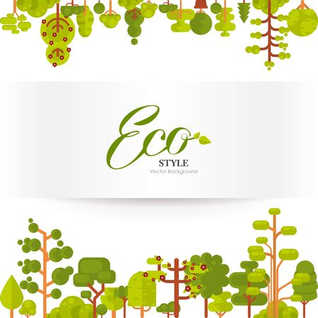 Stock vector illustration of green trees and bushes top and bottom on a white background in a flat style. Banner or strip of paper with lettering for Environmental Design, eco style, ecology Illustration