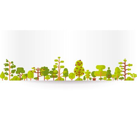green eco: Stock vector illustration of bare banner or strip of paper with green trees and bushes on a white background in a flat style for Environmental Design, eco style, ecology Illustration