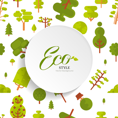 superscription: Stock vector illustration seamless pattern with lettering, green trees and bush on white background, flat style with circle banner, round sticker of paper for Environmental Design, eco style, ecology