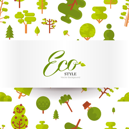 superscription: Stock vector illustration seamless pattern with lettering, green trees and bushes on a white background in a flat style with banner or strip of paper for Environmental Design, eco style, ecology