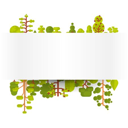 clearing: Stock vector illustration of bare banner or strip of paper with green trees and bushes on a white background in a flat style for Environmental Design, eco style, ecology Illustration