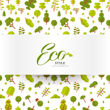 light green: Stock vector illustration of banner or strip of paper with lettering on seamless pattern, green trees and bushes on a white background in a flat style for Environmental Design, eco style, ecology