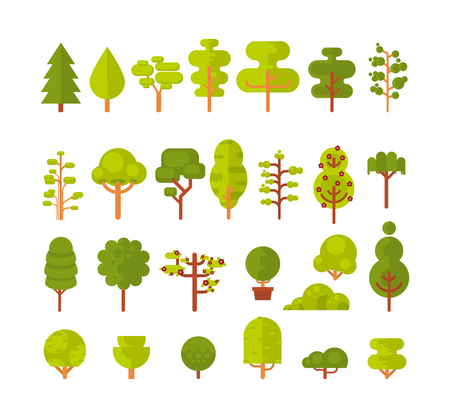 shrubs: Stock vector illustration of a set of isolated trees and shrubs on a white background in a flat style