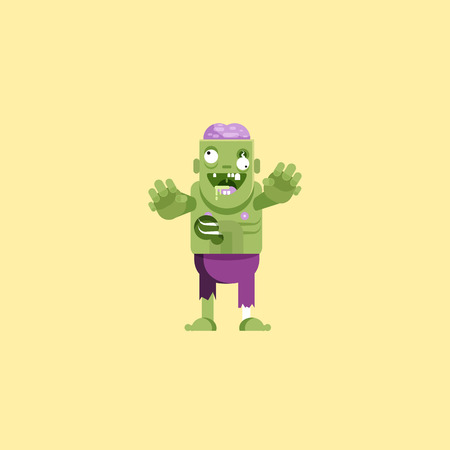 layer mask: Stock vector illustration zombie character with brains for halloween in a flat style Illustration