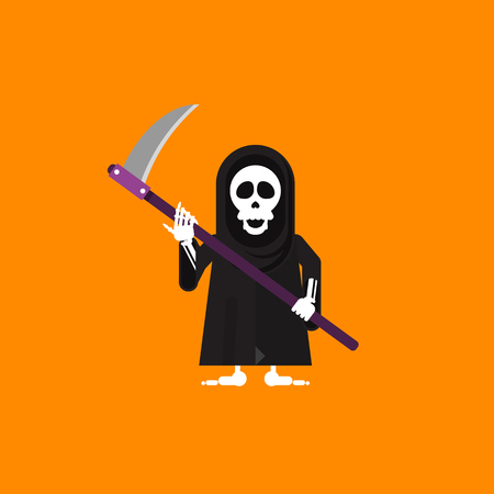 eye sockets: Stock vector illustration a grim Reaper character for halloween in a flat style