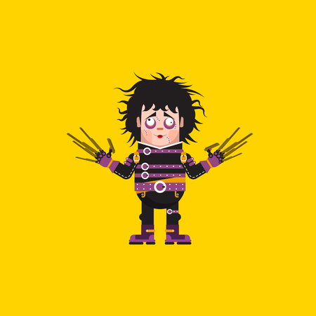 edward: Stock vector illustration Edward Scissorhands character for halloween in a flat style