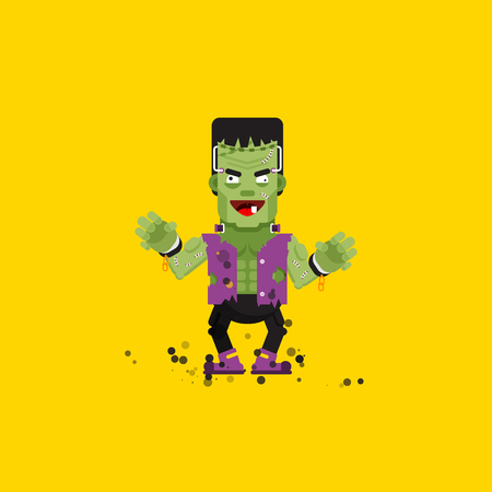Stock vector illustration Frankensteins monster character for halloween in a flat style