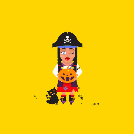 Stock vector illustration a pirate girl character for halloween in a flat style Illustration
