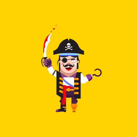 wooden leg: Stock vector illustration a pirate character for halloween in a flat style