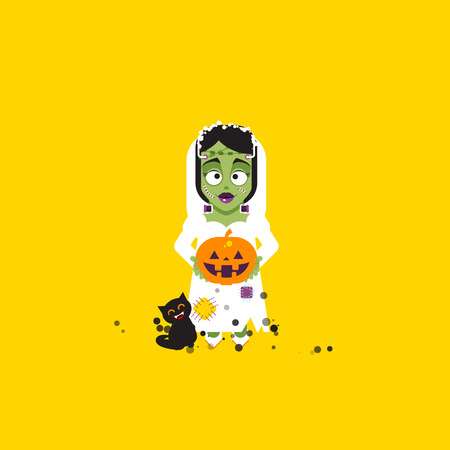 Stock vector illustration Bride of Frankenstein monster character for halloween in a flat style
