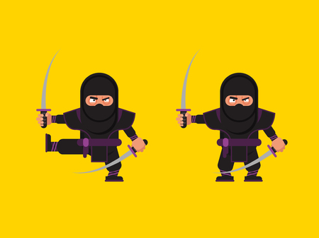 sneaky: Stock vector illustration of ninja character in a flat style