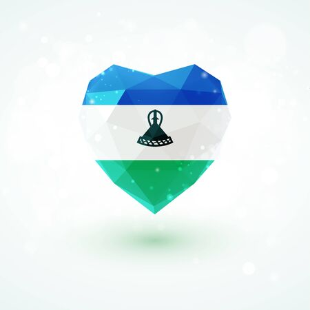 realism: Flag of Lesotho in shape of diamond glass heart in triangulation style for info graphics, greeting card, celebration of Independence Day, printed materials