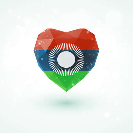 glass heart: Flag of Malawi in shape of diamond glass heart in triangulation style for info graphics, greeting card, celebration of Independence Day, printed materialsFlag of Laos in shape of diamond glass heart in triangulation style for info graphics, greeting card,