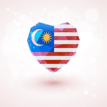 nacional: Bandera de Malasia en forma de corazón de cristal de diamante en el estilo de triangulación de información de gráficos, tarjetas de felicitación, celebración del Día de la Independencia, impresos materialsFlag de Laos en forma de corazón de cristal de diamante en el estilo de triangulación de información gráfica, saludo coche
