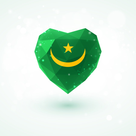 mauritania: Flag of Mauritania in shape of diamond glass heart in triangulation style for info graphics, greeting card, celebration of Independence Day, printed materialsFlag of Laos in shape of diamond glass heart in triangulation style for info graphics, greeting c