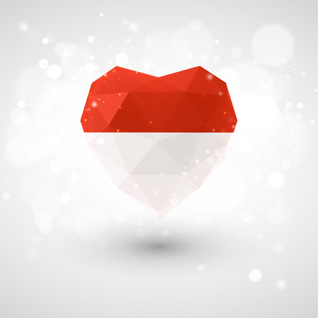 realism: Flag of Monaco in shape of diamond glass heart in triangulation style for info graphics, greeting card, celebration of Independence Day, printed materialsFlag of Laos in shape of diamond glass heart in triangulation style for info graphics, greeting card,
