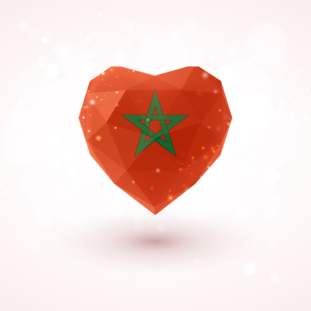 Flag of Morocco in shape of diamond glass heart in triangulation style for info graphics, greeting card, celebration of Independence Day, printed materialsFlag of Laos in shape of diamond glass heart in triangulation style for info graphics, greeting card