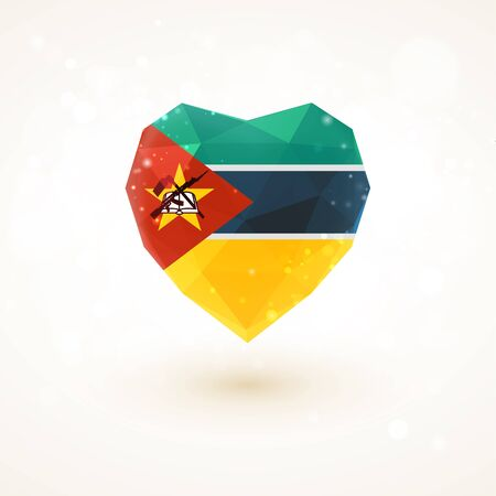 glass heart: flag of Mozambique in shape of diamond glass heart in triangulation style for info graphics, greeting card, celebration of Independence Day, printed materialsFlag of Laos in shape of diamond glass heart in triangulation style for info graphics, greeting c Illustration