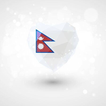 realism: Flag of Nepal in shape of diamond glass heart in triangulation style for info graphics, greeting card, celebration of Independence Day, printed materialsFlag of Laos in shape of diamond glass heart in triangulation style for info graphics, greeting card,  Illustration