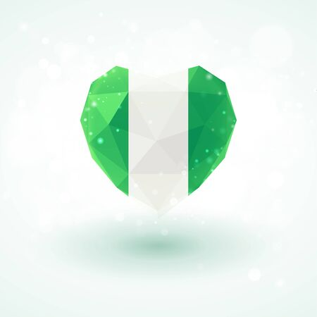 Flag of Nigeria in shape of diamond glass heart in triangulation style for info graphics, greeting card, celebration of Independence Day, printed materials Illustration